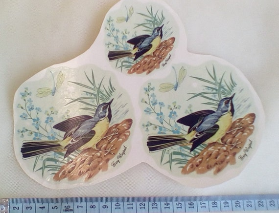 Ceramic Glass Floral Decal Transfers Retro Grey Wagtail
