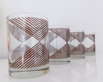 Georges Briard signed Mid Century glasses / set of four 1970s tumbler drink glasses/ 70s barware cocktail