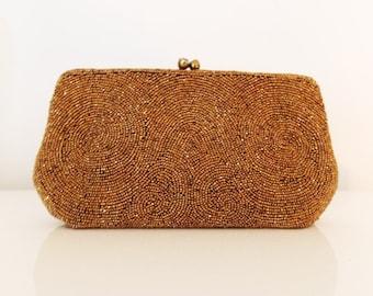 1930s Josef golden iridescent glass hand beaded clutch / 1940s Copper carnival glass purse/ WWII swing purse/ 30s evening rhinestone bag