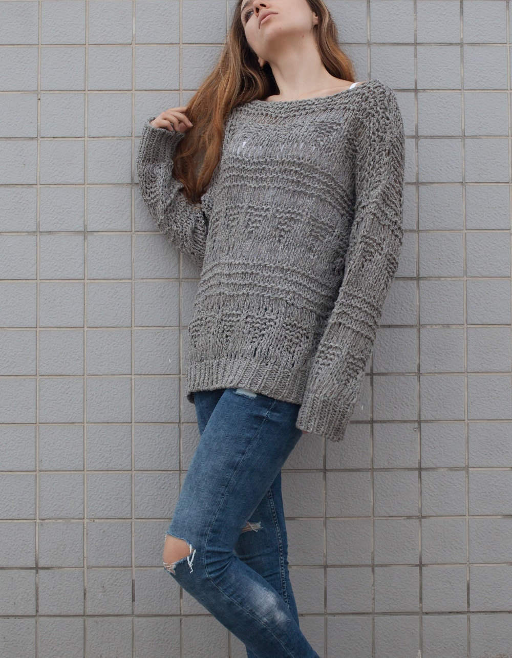 Hand knit sweater wool woman sweater long sweater Grey loose knit ...