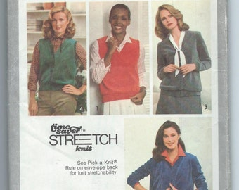 Simplicity 9075 Misses' Cardigans, Cardigan-Vest and Pullover Vest - Size 10-12-14 - Uncut Vintage Pattern