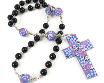 Black Onyx Anglican Prayer Beads Rosary Handmade Polymer Clay Beads Cross Gift for Her Protestant Spirituality & Religion