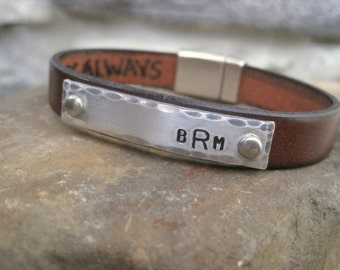 Secret Message Custom Bracelet - Mens, Womens, Childrens Personalized Leather Bracelet