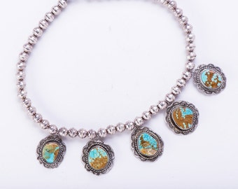 70s Royston Turquoise Necklace - Navajo Sterling Squash