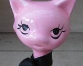 Kitsch Pink Cat - Vintage 1950's Ceramic Cat Figurine - Retro