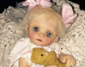 "OOAK Hand Sculpted Original Polymer Clay 8"" Baby Toddler doll ""Arya"""