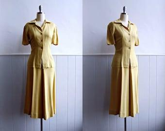 1940s Citrus Linen Skirt and Blouse // Chartreuse Two Piece Suit