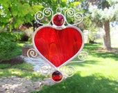 RESERVED Stained Glass Heart Suncatcher Home Decor