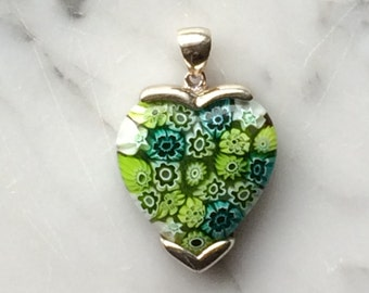 Heart Large Millefiori Murano Glass Green Heart Pendant in Sterling Silver