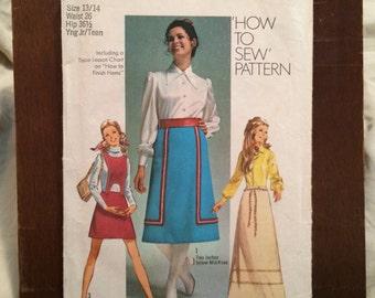 "Vintage 1970's Simplicity Sewing Pattern 8965 Juniors Skirt in 3 lengths sz 13-14 Waist 26"" Hip 36 1/2"""