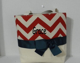 Ivory / Dk Red   Chevron  Monogrammed/Personalized Tote, Purse, Bridesmaid Gift, Flower Girl, MOB, MOG,Cheer Squad, Brownie