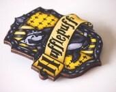 Hufflepuff House Shield - Harry Potter - Laser Cut Wood Brooch