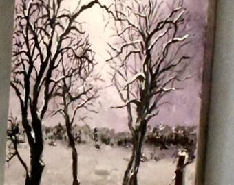 Winter In Wisconsin Tree Study Original Painting