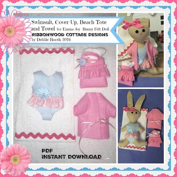 Sewing Pattern PDF Felt Beach Wardrobe Only for Emma Joy Bunny Doll-Pattern