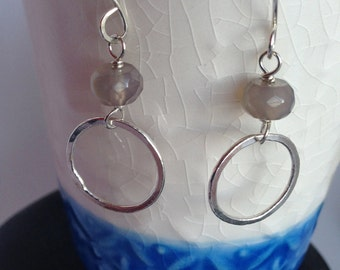 Hammered Silver Hoop Earrings with Grey Glass Bead Sterling Silver Hand Forged Metal Jewelry