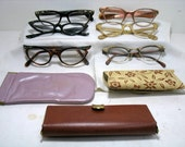 Lot of 6 Vintage Womens Catseye Eyeglasses Cats Eyes Eye Glasses  Fancy Inlay Aluminum etc. Mid Century Mad Men Hollywood