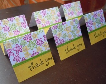 Colorful Flowers Mini Thank You Cards 2x2 (6)
