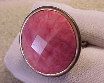 Repurposed Vintage Clothing Button Ring - Pink Faceted Stone