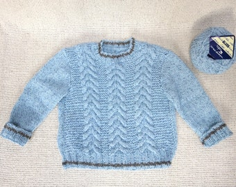 Chunky Cable Knit Crew Neck/Collar Toddler Boy Sweater - 2T/3T - Ready to ship
