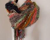 Scarf  Hand Spun Hand Knit Scarf multicolor diagonal stripe merino wool