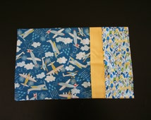 Blue and Yellow Airplane Travel Pillowcase