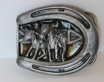 Vintage Horseshoe Cowboy Rodeo Belt Buckle Bergamot Brass Works Belt Buckle Made in the USA 1984