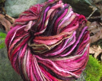 Handspun yarn, handpainted hand dyed  wool yarn, worsted  thick and thin multiple skeins available-Painting Roses