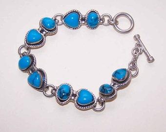 Vintage Mexican STERLING SILVER & Turquoise Link Bracelet