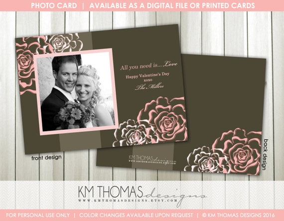 Sweet Love Photo Valentine's Day Card : Printable Valentine's Day Card - Roses - Pink - VA101
