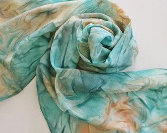 Hand Painted Silk Scarf - Handpainted Scarves Aqua Teal Turquoise Blue Jade Green Peach Orange