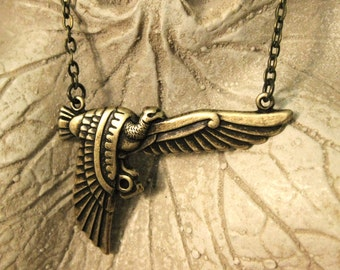 Phoenix Rising Necklace Antique Brass Egyptian bird necklace Egyptian pendant jewelry hadmade