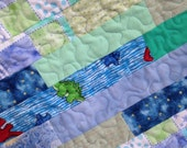 "Baby boy Quilt, Flannel Quilt, Strip Quilt, Baby quilt, 40x48"" blue baby quilt, perfect for baby shower gift"