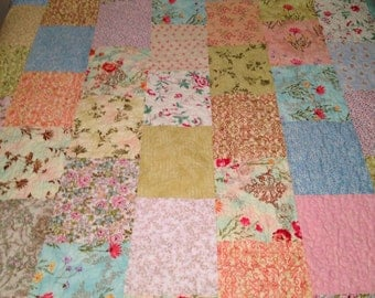 "Sale was 375.00 now 333.00  Queen Size Quilt, Country Gardens Quilt, 95""x95"", Florals, Pinks, Greens, Peach, Gorgeous Queen Quilt,"
