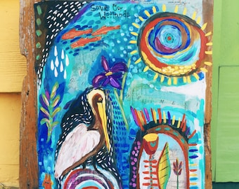 Small Folk Art Pelican Painting on Wood