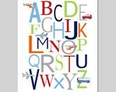 TRANSPORTATION Alphabet Nursery Art ABC Print Baby Boy Nursery Decor Car Plane Airplane Helicopter Bus - 8x10 - Choose Your Colors