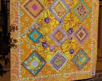 My Mellow Yellow Limoncello Quilt-Made with Kaffe Fassett fabrics