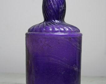 Large PURPLE BOTTLE- Swirl Design-Antique Amethyst Glass- Rustic Decor- Decorative Bottle D-19