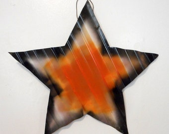 Halloween Folk Art Star Corrugated Tin Reclaimed Door Wall Hanging Hanger Black Orange