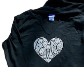 Peace paisley burnout fitted hoodie t-shirt