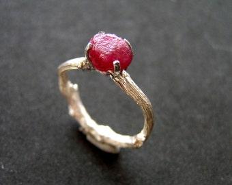 Raw natural ruby budding twig sterling silver ring. Alternative engagement raw gemstone silver twig ring