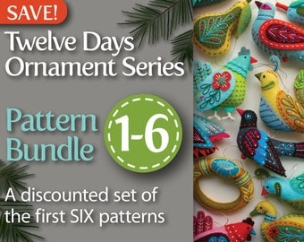 Twelve Days Series 1-6 PDF Pattern Bundle: Partridge & Pear, Turtle Dove, French Hen, Colly Bird, Gold Ring, and Goose a-Laying