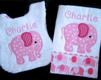 Baby Gift Set - Personalized Bib and Burp Cloth - Pink Elephant