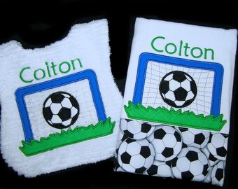 Personalized Baby Gift Handmade Appliqued Soccer Bib and Burp Cloth Reversible White Chenille