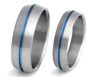 Thin Blue Line Titanium Wedding Band Set - Matching His and Hers - Blue Rings - stb6