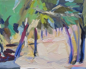 Southern Landscape....low country, palm trees, South Carolina, Fort Freemont, oil painting, 9 x 12 inch painting, expressive, Linda Hunt