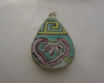 Pottery Shard Pendant, Broken China, Broken Plate, yellow, turquoise, pink, purple, Destash