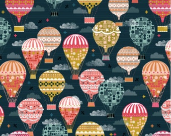 Balloon Fabric - Retro Vintage Hot Air Balloons Flying Machines Fabric By Andrea Lauren - Balloon Cotton Fabric By The Yard with Spoonflower