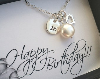 Birthday Necklace - Happy Birthday Necklace in Sterling Silver - 16th, 18th, 25th