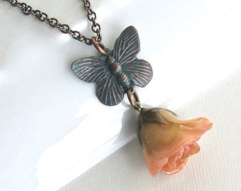 Cream Pink Real Rosebud Necklace, Butterfly Necklace, Real Flower Jewelry, Rose Necklace, Nature Jewelry