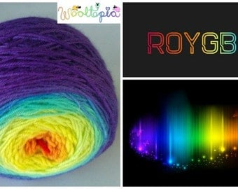 Rainbow Gradient ROYGBIV 100 gm/3.5 oz  Squishy Sock